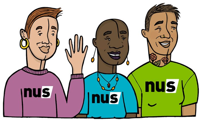 Illustration of students with NUS t-shirts.